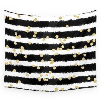 Society6 Modern Black Watercolor Stripes Chic Gol Wall Tapestry