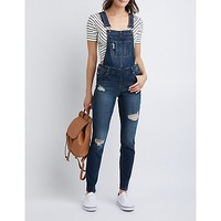 Destroyed Denim Overalls | Charlotte Russe