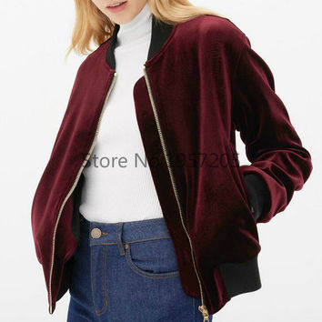 Ladies Wine Red Velvet Bomber Jacket Vintage Pleated Sleeve Side Pocket Stand Collar Pilot Jacket 2016 Spring Coat Free Shipping