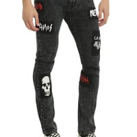 "XRay Jeans 32"" Inseam Grey Wash With Patches Super Skinny Jeans"