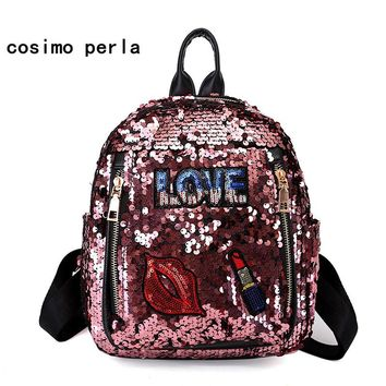 Backpacks with Sequin Causal Shoulder Bag for younger person