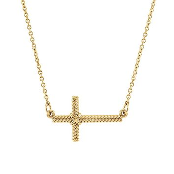 20mm Sideways Rope Cross Necklace in 14k Yellow Gold, 16.5 Inch