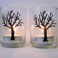 Candle Holders Tree Votive  Set of 2 by SaidInStoneOnline on Etsy