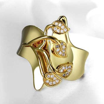 Hot Summer Design Fashion Jewelry Free Shipping AAA Cubic Zirconia stones Leaf shape Gold-color Fancy Engagement Ring for Women