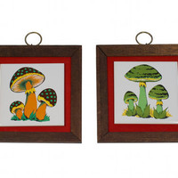 Trippy Mushroom Picture Wall Hanging Psychedelic Kitsch Hippie Tile / Vintage 60s 70s
