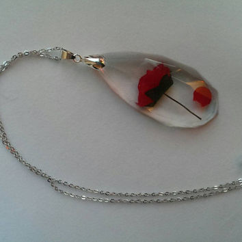 Beauty and the Beast Rose in Resin Necklace