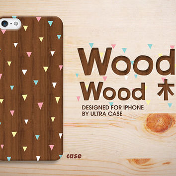 iPhone 5c Case wood Pattern brown iPhone 5S Case wooden triangle, iPhone 5 Cover, iPhone 4 hard case-w4.Case for iPhone 4 / 4S / 5 / 5S / 5C