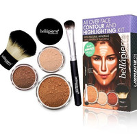 Mineral Face Contour Powder & Highlighting Brush Beauty Makeup Cosmetic Kit