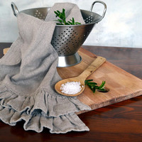 Stonewashed natural linen tea/ hand towel with 2 rows of ruffles/Natural