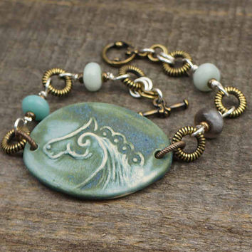 Horse bracelet, blue green ceramic, brass silver mixed metal, amazonite equestrian jewelry 7 3/4 inches 20cm