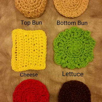 Burger Coasters- Set of 6- Add extra toppings
