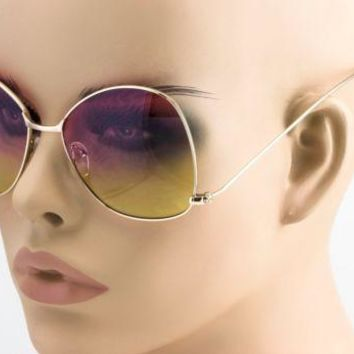 NEW Oversize Vintage Retro Style butterfly upside down Pink Yellow Sun Glasses