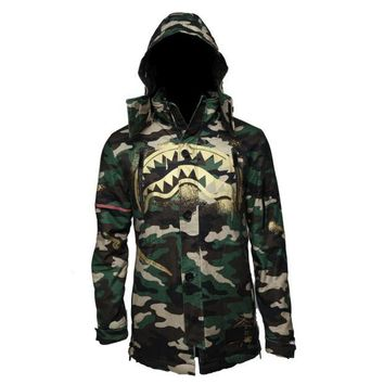 ONETOW Sprayground - Gold Stencil Shark Camo Parka Jacket - Green / Gold