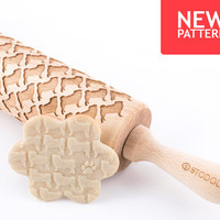 Pug - Embossed, engraved rolling pin for cookies