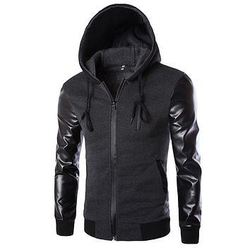 Mens Hoodies Patchwork Leather Sleeve Fashion Hoodies Men Jacket Coat Brand Sweatshirt Slim Fit Pullover Tracksuits Masculino