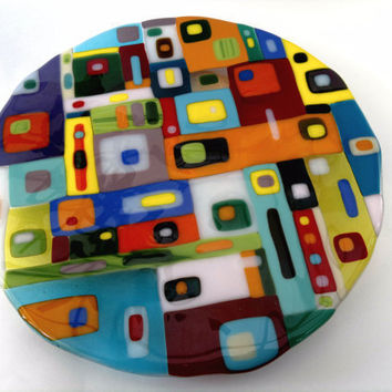 Lazy Susan tray  fused glass hand made by dalit by dalitglass