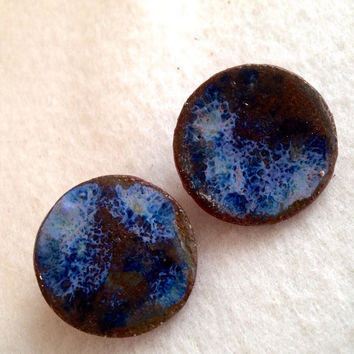 Ceramic Handmade Midnight Blue large round stud ceramic earrings on Silver plated surgical steel hypoallergenic