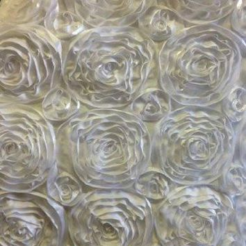 """2 Yards, 52"""" Inches, Beautiful Rosette Satin Ribbon Fabric, Perfect for Newborn Photography, White"""