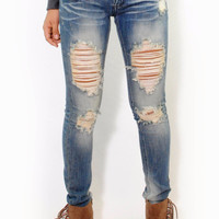 (alu) Machine Distressed medium wash skinny jeans