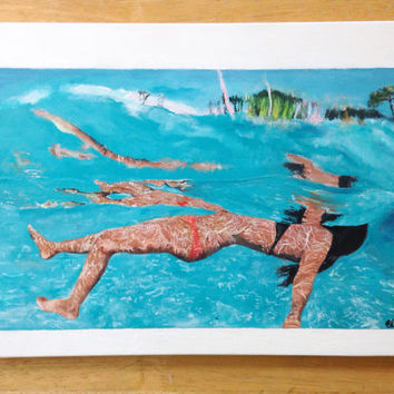 Underwater Painting, Girl Swimming, Ocean, Tropical, Summer Painting