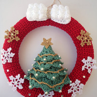 Christmas wreath in crochet, Door hanger decoration, Snowflakes & Christmas tree - Custom for other decoration