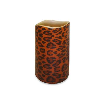 "6.75"" Leopard Print Battery Operated Flameless LED Lighted Flickering Wax Pillar Candle with Remote"