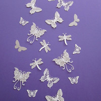 3D elegant fairy butterfly and dragonfly wall art set in broken white/silver  --- Perfect as wedding or party decor