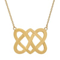 14k Gold Over Silver Celtic Double Heart Necklace (Yellow)
