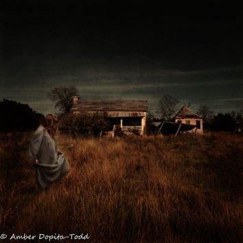 """Surreal Photography """"To Be Home"""" Girl in front of Abandoned House Fine Art Photography"""