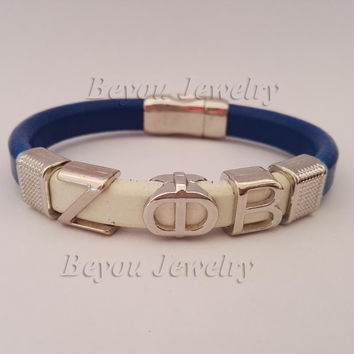 ZETA PHI BETA  Sorority Leather Magnetic Bracelet Bangle