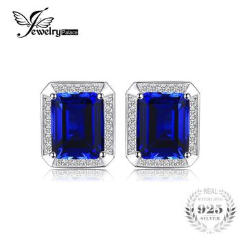 Jewelrypalace Men Luxury 8.6ct Created Sapphire Wedding Cufflinks 925 Sterling Sliver Jewelry