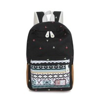 Vere Gloria Canvas Lightweight Casual Backpack Bags for School Teens Girls College Students Lace Color Stripe Aztec Pattern National Trend (Black)