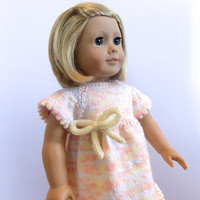 Doll Dress, 18 Inch Doll Clothes, Peach Knit Doll Dress