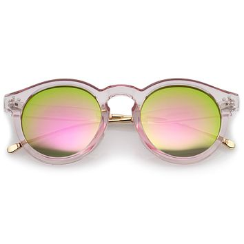 Trendy Transparent Color Mirrored Lens Round P3 Sunglasses A780