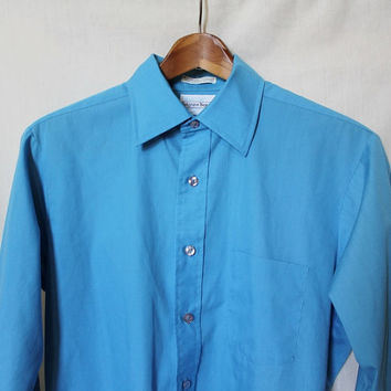 Vintage Mens Western Shirt Blue Button Up Rodeo Top Cowboy Collar Dressshirt Vtg 60s Cotton Belgrave Square Career Club