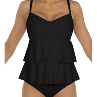 Sunsets Separates Black - Underwire Tiered One Piece Swimsuit