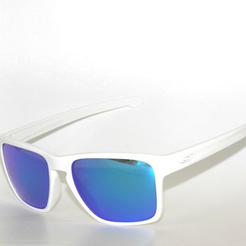 CLEARANCE*OAKLEY SUNGLASSES A SLIVER XL 9346-02 POLISHED WHITE/SAPPHIRE IRIDIUM