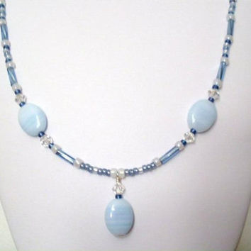 Necklace Baby Blue Beads Signature by AstraBellaSinsations on Etsy