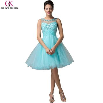Grace Karin Short Evening Dress Robe De Soiree Courte Tulle Sleeveless Formal Ball Gowns Tutu Pretty Elegant Evening Party Dress