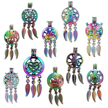 Rainbow Colored Dream Catcher Cage Pendant Star Dragon Owl Love Dreamcatcher Cage Jewelry 5Pcs RPA1