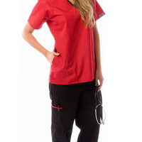 Women's 5 Pocket Contrast Durable Medical Scrubs