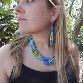 Seed Bead Necklace Set - Blue/Green