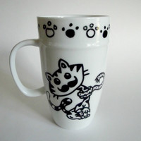 Mustache Cat Hand Drawn Mug