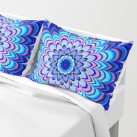 Neon blue striped mandala Pillow Sham by Natalia Bykova