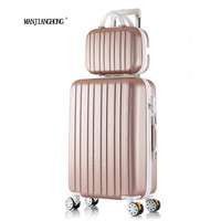 "20 ""24"" 26""inch New stripe luggage set suitcase 20"" boarding, 10 Colors universal wheels trolley candy, travel box to slide, Box"
