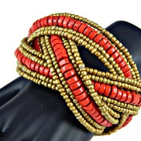 Braided Wood Bead Wide Cuff Bracelet Red and Gold