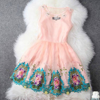 Spring And Summer High- Beaded Embroidery Princess Dress