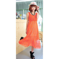 Orange Polka Dot Sleeveless Maxi Dress