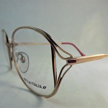 Gold Red Eyeglasses Frame Metal 80s Oval Glasses 1980s Vintage NOS