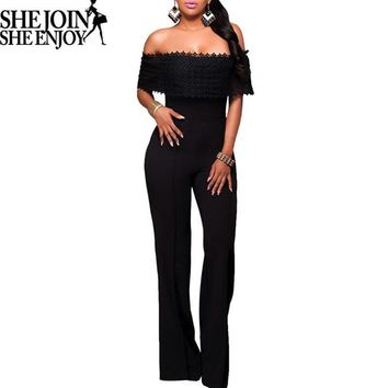 ShejoinSheenjoy Out Off Shoulder Jumpsuit Long Sleeve Sexy Bodycon Jumpsuit Skinny Plus Size